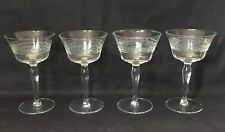 4 Etched Cut CRYSTAL WINE GLASSES with Crown of Leaves