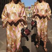 UK Ladies Faux Silky Satin Floral Midi Dress Women Beach Evening Party Plus Size