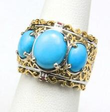 Sleeping Beauty Turquoise 3 Stone Ring Scrolling Sterling Silver Gold Size 6.25