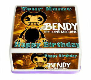Square Cake Topper Bendy Ink Mach Birthday personal Rice paper,Icing fondant.311