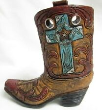 Western Small Ceramic Cowboy Boot Pencil Holder Collectible New (4338F)