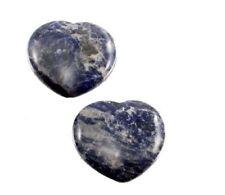 Sodalith Herz Taschenstein, 2 Stück, 4 cm Edelstein blau Steinherz Sodalit 2er