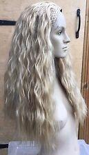 medium blonde wavy curly frizzy puffy 3/4 half head long hair wig fancy dress 1