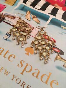 RARE Kate Spade Sparkle Dunes Chandelier Deco Earrings Champagne Crystal Drop