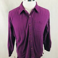 LL Bean Flannel Shirt Large Womens Purple 100% Cotton Fleece Lined Heavy Shacket