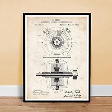 TESLA ALTERNATING ELECTRIC CURRENT GENERATOR INVENTION 1891 US PATENT ART POS...