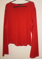 Debenhams Casual Club Red Embroidery Long Sleeved V Neck Tunic Top size 16