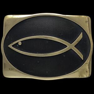 Brass Christian Ixoye Jesus Ichthus Fish Religious Gift Vintage Belt Buckle