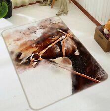3D Graffiti War Horse R155 Animal Non Slip Rug Mat Round Elegant Carpet Zoe