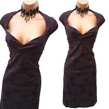 Exquisite KAREN MILLEN Brown Rose Jacquard Galaxy Wiggle Cocktail Dress UK 10