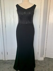 QUIZ SEQUIN EMBELLISHED LONG MAXI EVENING OCCASION PROM DRESS GOWN Sz 18 Black