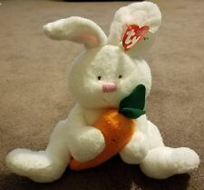 TY Retired Pluffies Snackers baby white bunny rabbit with carrot Easter