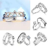 Elegante Frauen Männer Silber Verlobungsring Versprechen Schmuck Hochzeit Band