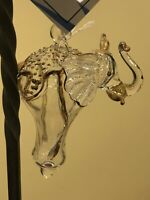 Vintage Glass Gold Trim Elephant Ornament Delta Sigma Theta Hand Blown  3.5""