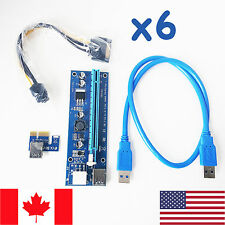 6x 006c PCI-E Riser Cards 1x to 16x SATA 6pin Power Supply - Crypto Mining *NEW