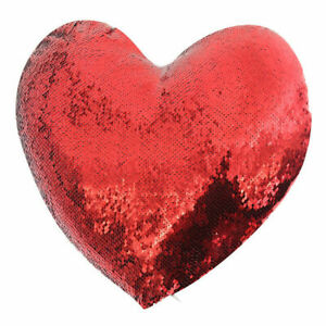50pcs* Red heart-shaped sequin Pillow Heat transfer printing for Valentine's Day