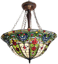 PARIS * VICTORIAN 3 LIGHT HEARTS FLEUR-DE-LIS STAINED GLASS HANGING PENDANT LAMP