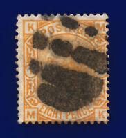 1876 SG156 8d Orange Plate 1 J91A MK Fair Used Cat £350 ckmd