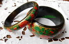 BRACELETS FANTAISIE EN PAPIER MACHE ENTIEREMENT PEINTS A LA MAIN LOT DE 2