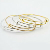 Expandable Wire Bangle Charm Bracelet Stainless Steel Adjustable Adult Teen Kids
