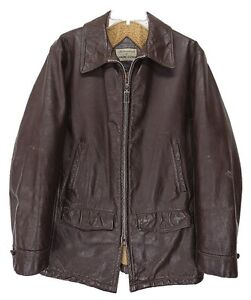 USA Vintage 60s LEATHER Sherpa Jacket CAR COAT 38 Mens Small