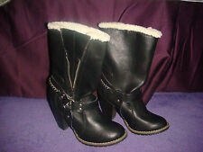 CANDIE'S 'CADUMONT ' BLACK MOTORCYCLE STYLE BOOTS WITH CHAIN ACCENT SIZE 7