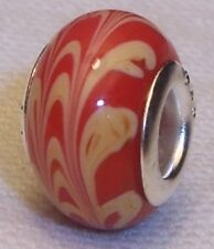 Red Tan Brown Pattern Murano Glass Bead Gift for Silver European Charm Bracelet