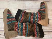 MUK LUKS Women's Blue Brown Aztec Knitted Mid Calf Sweater Boot  SZ 6.5 - 7.5