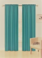 2 PANELS ROD POCKET FOAM LINED THERMAL BLACKOUT WINDOW CURTAIN DRAPE R64 TEAL