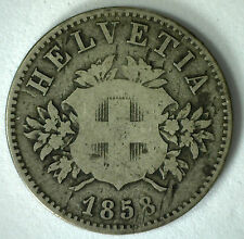 1858 Switzerland 20 Rappen Swiss Helvetia Billon 20 Cent Coin YG