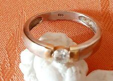 RING -Solitär- mit 1 Brillant (Diamant) ca. 0,20ct -14K/585 Gelbgold/ Weissgold
