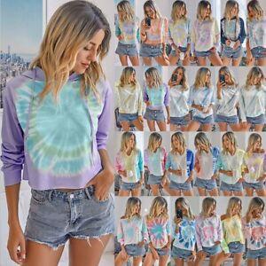 Women's Tie Dye Long Sleeve Pullover Sweatshirts Loose T-Shirt Jumper Blouse Top