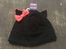 B90 NEW BLACK & Pink KITTY CAT BEANIE STYLISH HAT YOUTH 4-7