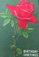 Postcard, Birthday Greetings Red Rose Vintage P59