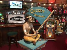 """1950's QUODDY MOCCASINS Indian Retail Store Statue Display 33"""" """" Watch Video"""""""