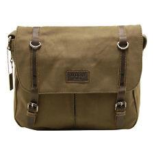Troop London - Olive Green Canvas Heritage Messenger Bag with Leather Trim