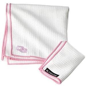 Club Glove Tandem Caddy Towel - White/Pink Border