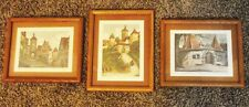 (3) VINTAGE OLD WORLD VILLAGES HAND SIGNED ETCHINGS BROWN WOOD FRAMED 9X11 ART