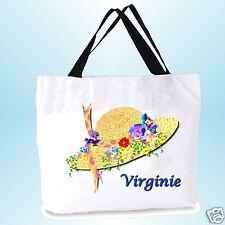 grand cabas sac shopping sac de plage  fond large personnalisé  prénom réf 02
