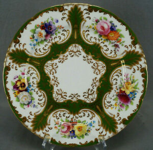 Wedgwood Hand Painted Floral Green & Gold Beaded 10 1/4 Inch Plate C. 1900 D