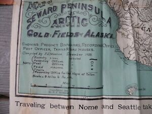 1903 Map of Seward Peninsula Arctic Gold Fields of Alaska Vintage Original