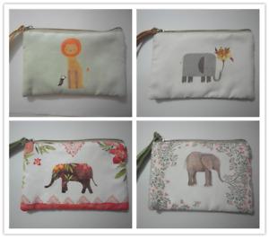 Cute Cotton Canvas Small Zipper Wallet Bag Purse Coin Key Phone Holder-Elephant