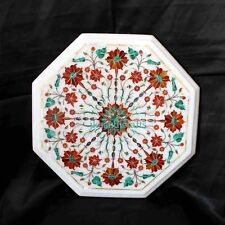 """18"""" Marble Coffee Table Top Floral Marquetry Malachite Inlay Hallway Decor Gift"""