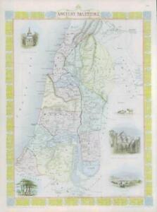 "1850 Original Antique Map of ""ANCIENT PALESTINE"" by TALLIS FULL COLOUR (82)"