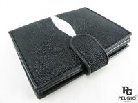 PELGIO Real Genuine Stingray Skin Leather Bifold Credit Card Coins Wallet Black