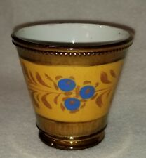 19th C. English Copper Luster Ware Beaker or Tumbler Yellow Band w/ Blue Flowers