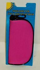 Sunglasses Case Easy Pull Zipper & Snap Clip BRIGHT PINK