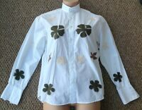 Teddy Smith Decorative Shirt White Medium Leaf Design