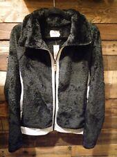 BKE Womens Wubby Faux Fur Jacket Coat Buckle Black Size Small