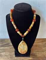 Vintage Chinese Polished Amber & Carnelian Bead Pendant Necklace - Hong Kong